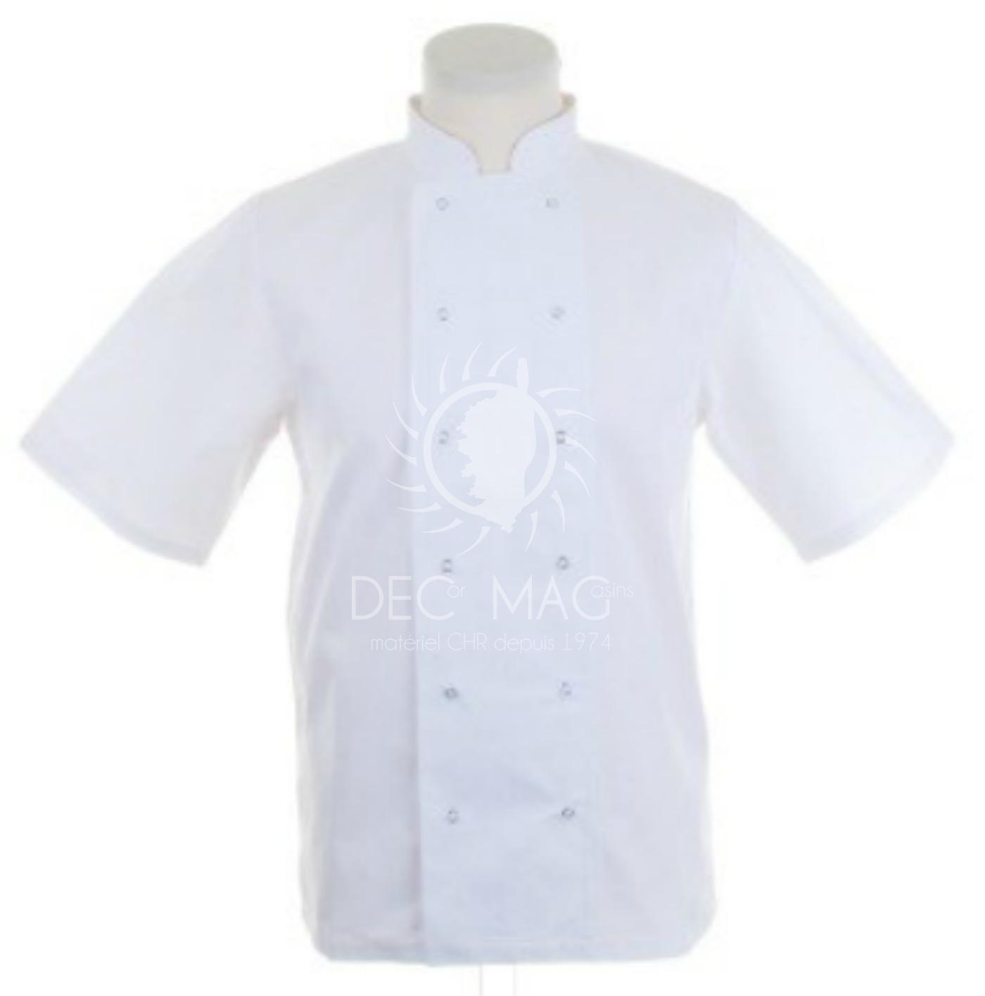 decor magasin : vente veste de cuisine unisexe blanche manches ... - Magasin Vetement De Cuisine